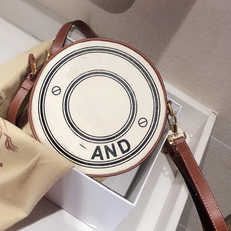 크로스 바디 가방 핸드백 지갑 패션 캔버스 원형 더블 레이어 디자인 여성의 어깨 가방 조절 가능한 어깨 무료 배송