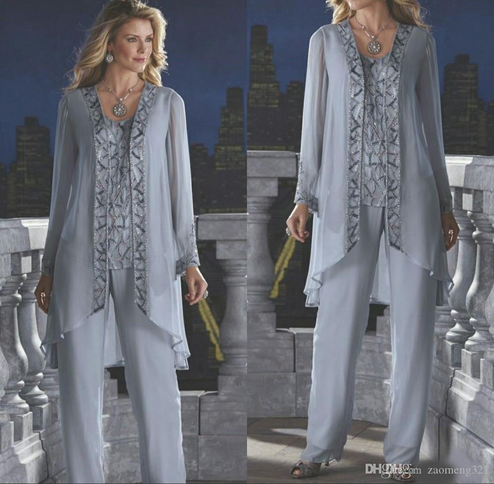 Anne Gelin Damat 3 Parça Pantolon Takım Elbise Gümüş Şifon Plaj Düğün Anneler Elbise Uzun Kollu Boncuk Örgün Akşam giymek