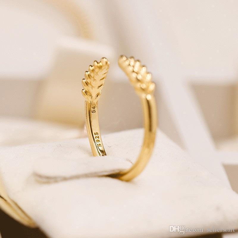 NEW 18K Yellow Gold RING Set Original Box for Pandora Real 925 Silver Open grain Fashion Luxury Gift Ring For Women