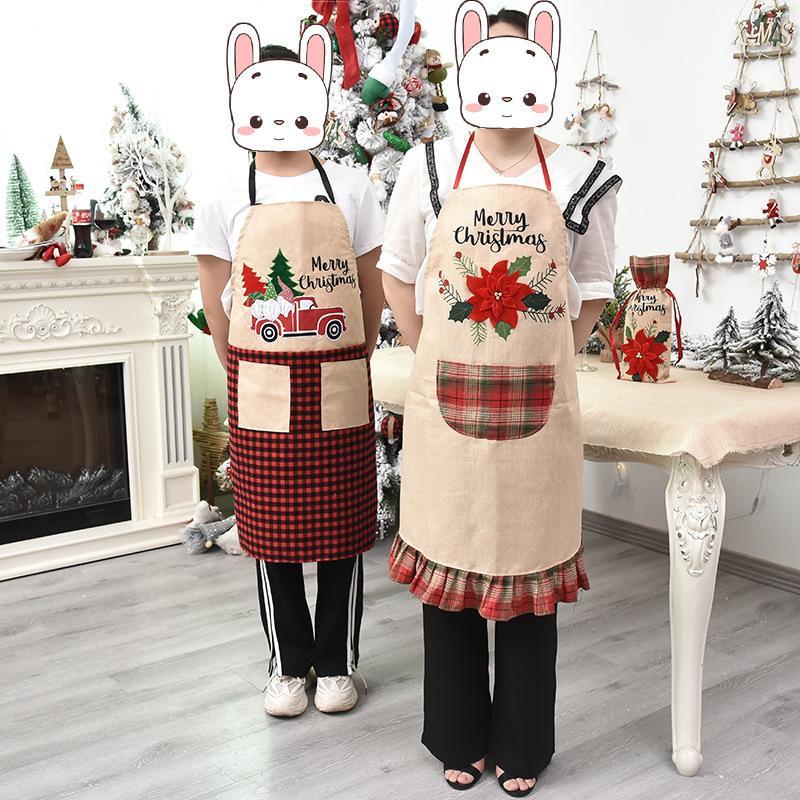 Suministros mujeres del partido creativa Inicio Parte festiva de Navidad Delantal de cocina delantales Hombres Moda floral Carta de Navidad