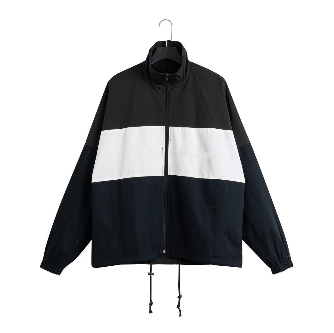 20sses Nouveaux hommes de sport Vestes de Sports Standing Collier Couture Contraste Surdim Matériel Zipper Turnford Oxford Tissu Lâche USA Taille Outwear