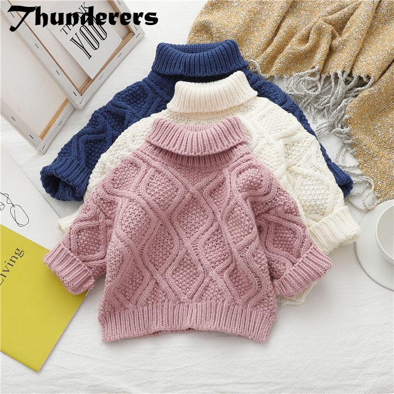 Truenos otoño invierno muchacha de los cabritos del suéter de la niña de la Knit gruesas ropa de abrigo niños Jerseys Prendas 24M-7T