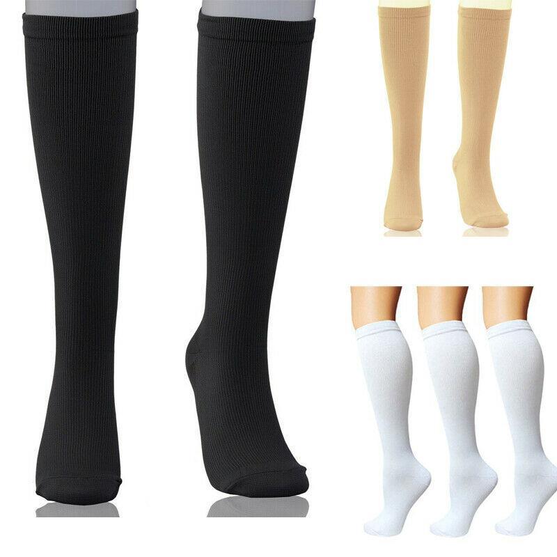 Nova Unisex joelho meias de compressão Suporta Edema varizes Cansado Esporte Sock