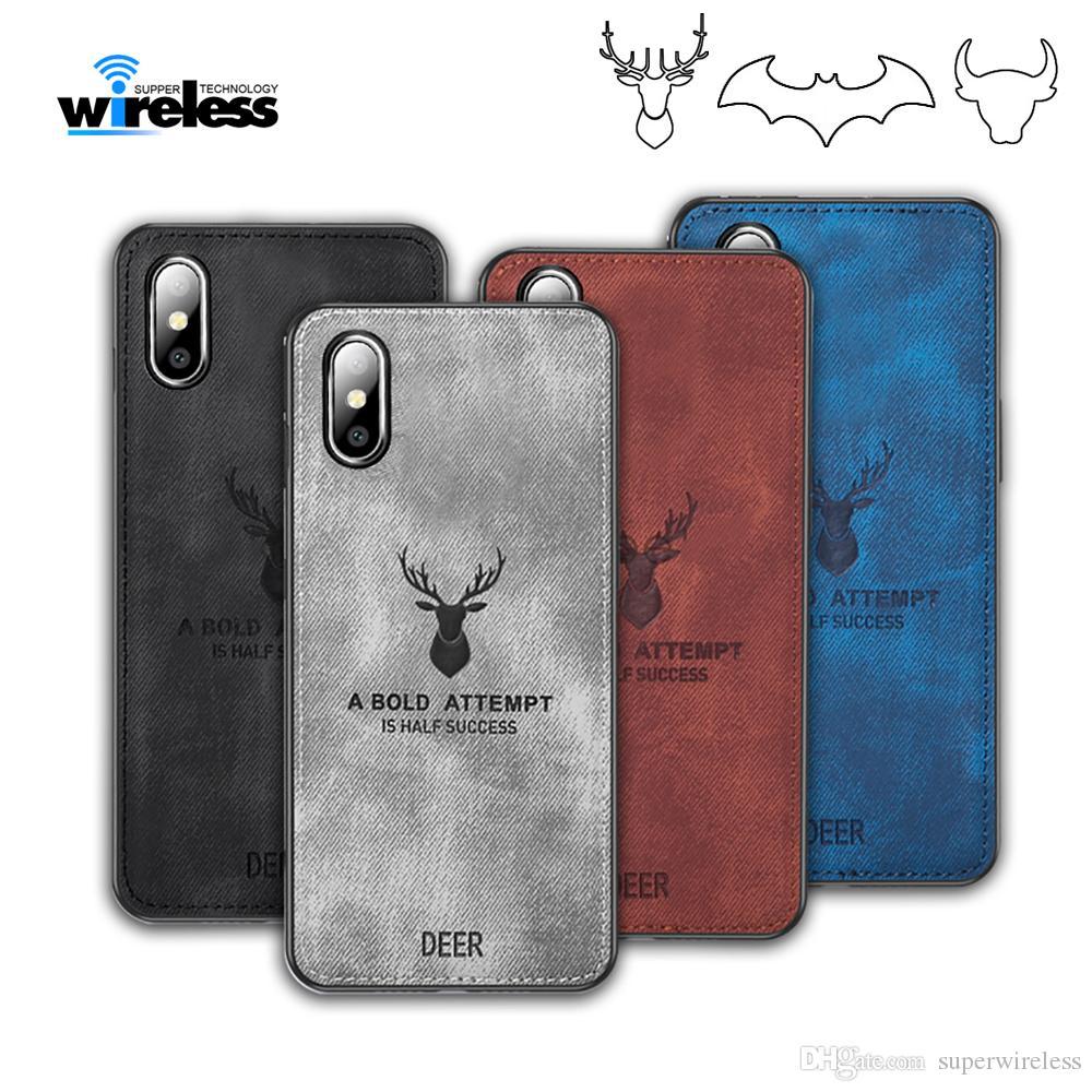 Panos de Padrão PC TPU capa para iphone xs x xr samsung S10 PLUS Cloth Tampa Elk cervos Touro Bat casos telefone tampas