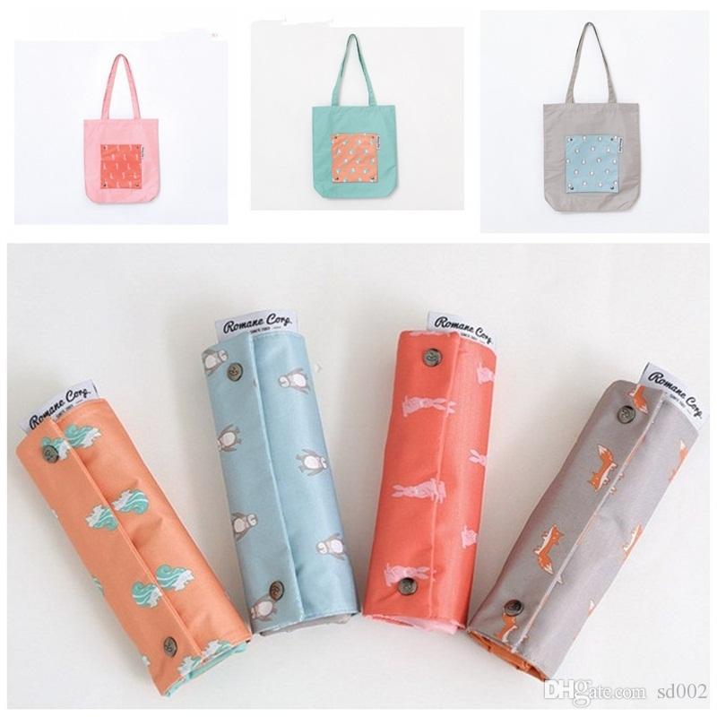 Foldable One Shoulder Shopping Bags Cartoon Squirrel Penguin Fox Rabbit Printed Waterproof Storage Bag Outdoor Tote Handbags High Capacity