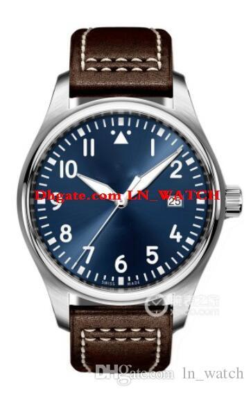 orologio IW327004 40 millimetri blu quadrante marrone in pelle degli uomini superiori di nuovo cinturino meccanici automatici Orologi Mens