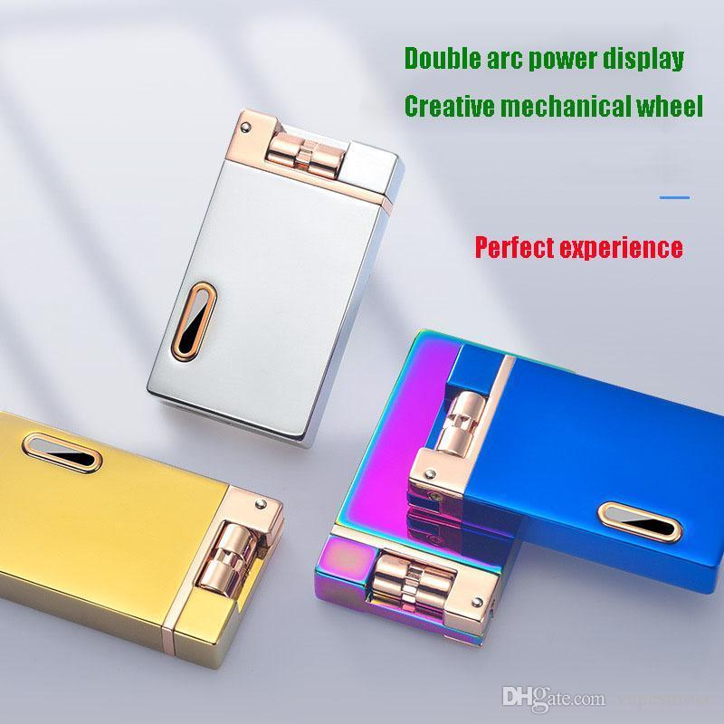 Nizza Gravity Induktions-Doppel Arc Lighter Shakes kreative USB-Charging-windundurchlässiges Feuerzeug Personalisierte Kundenspezifisches Drucken Raucherzubehör