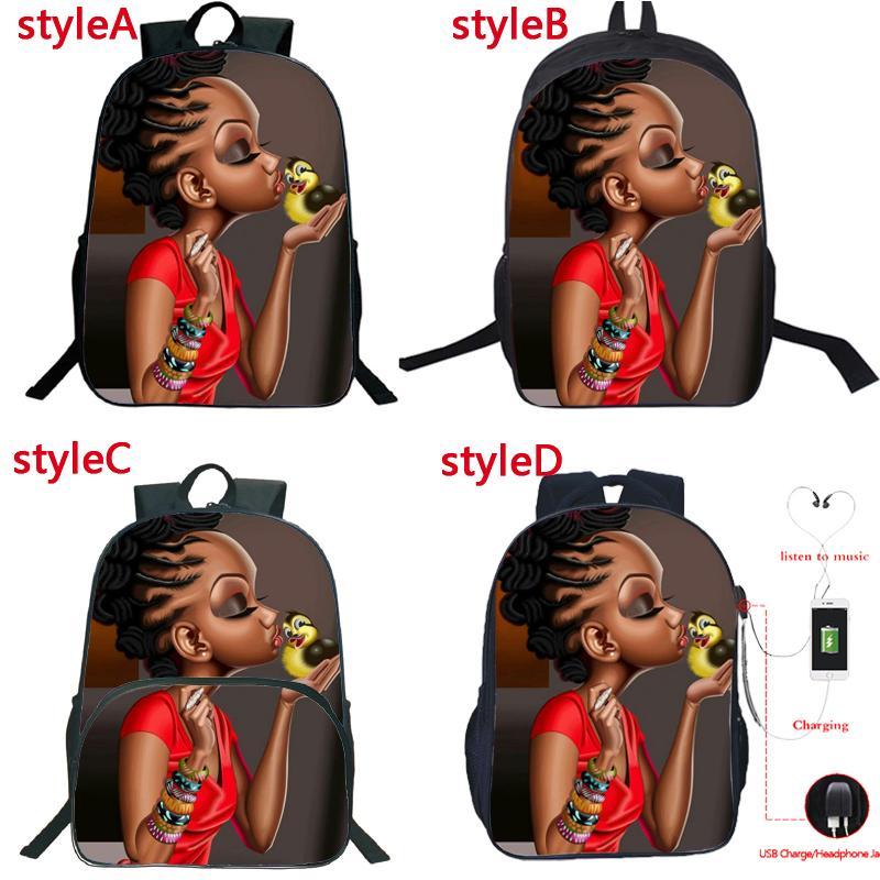 High Girls Charge Afro Girl USB Sac à dos USB Beauté Étudiants Lady Boys School Sacs Afrique Quality Fashion Princess Schoolbag WXBNQ