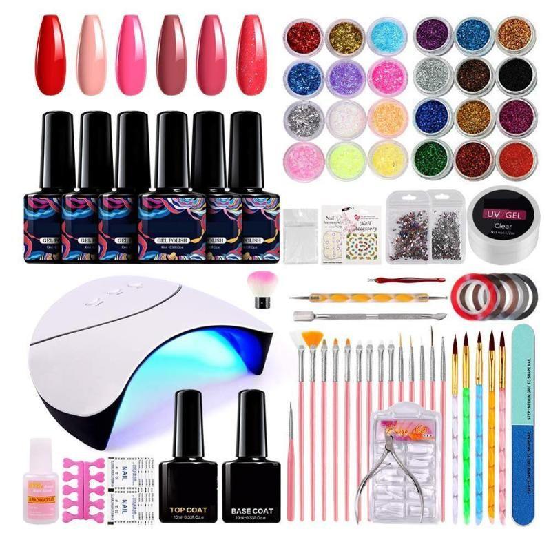 Kit para uñas de acrílico para los principiantes, con Shinny el brillo y lentejuelas, 6 colores de uñas del gel y la lámpara de 36W LED, falso francés Nai