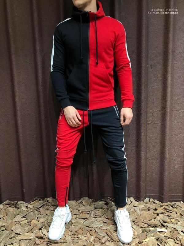 2 adet setleri renk panelli Mens tasarımcı eşofman Hırka Uzun kollu Hoodies kalem pantolon takım elbise Hiphop spor