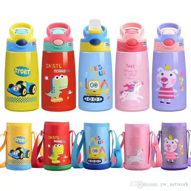 NEW Cartoon Children Sippy Cup Insulated Water bottle with straw lid 350ml Stainless Steel Kids bottle Portable Drinking Cup for kids