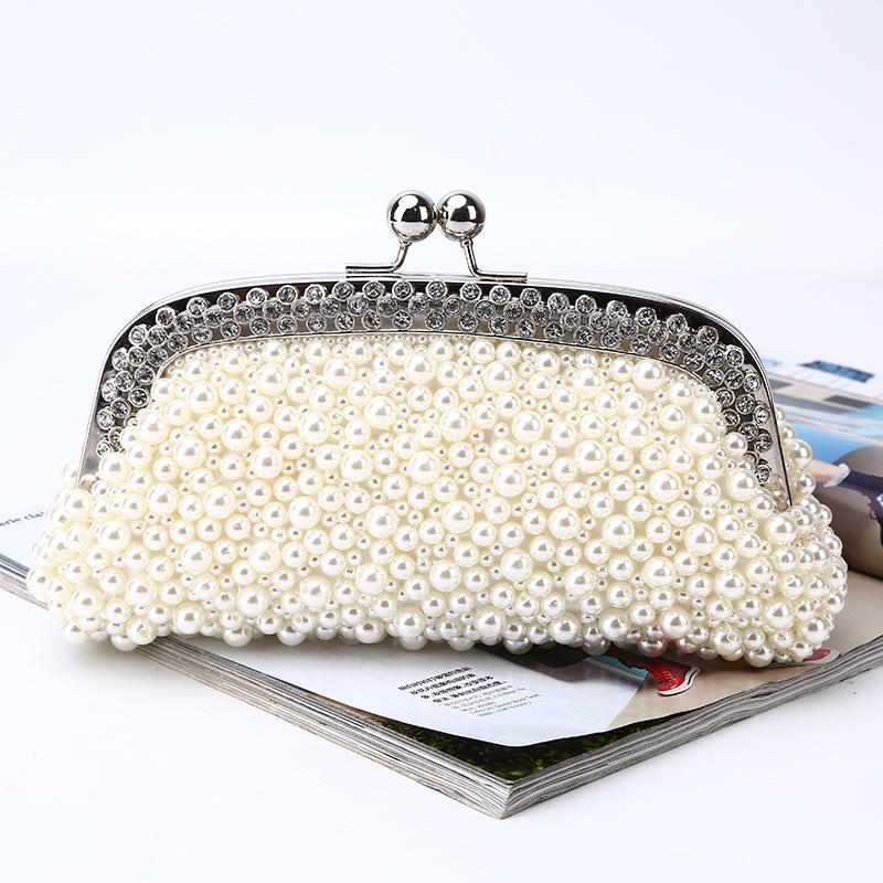 Fabbrica nuovo sacchetto di sera retaill all'ingrosso marca a mano abbastanza perline pochette di raso per la cerimonia nuziale / banchetto / party