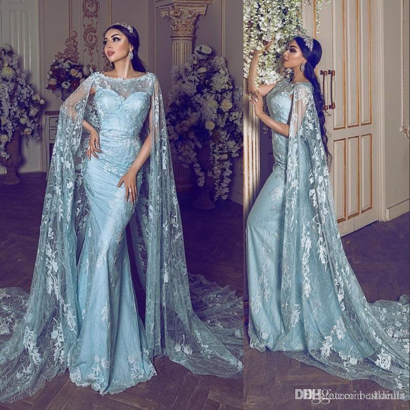 Élégant Dubaï arabe de dentelle sirène robe de soirée avec Wraps Bateau cou parole longueur longue appliques formelle de bal Robes de soirée Robes