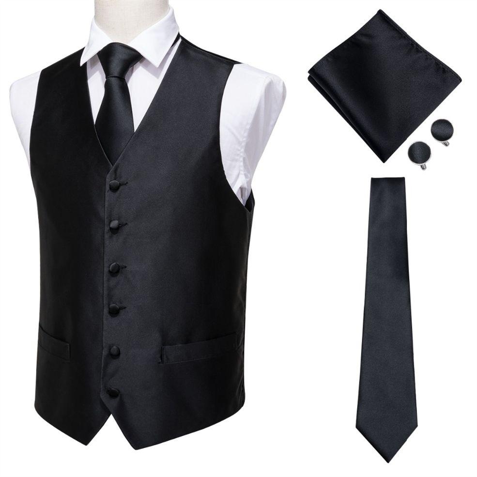 Acheter Salut Cravate Classique Solid Jacquard Soie Gilet Gilet Mouchoir Boutons De Manchettes Parti Mariage Tie Gilet Costume Ensemble Noir MJ 0005 #