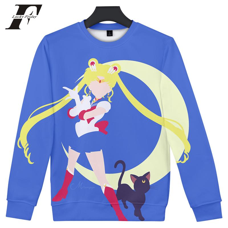 kpop Sailor Moon Sweatshirt 3D Print Cartoon Long Sleeve Kawaii Japan Aesthetics Anime Women's Hoodies / Sweatshirts 2019