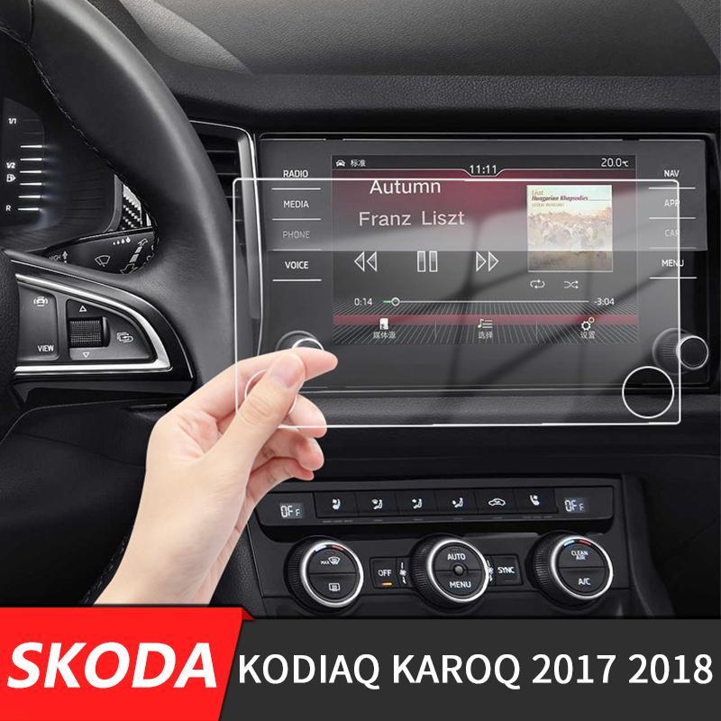 256 136 millimetri * Per Kodiaq Karoq 2017 2018 Schermo a cristalli liquidi di navigazione di GPS di vetro acciaio Pellicola protettiva