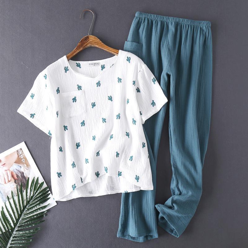 Kadınlar için Pamuk Su Yıkanmış Pijama Kadınlar Için Pijama Pijama Pijamas Doku Krep Gazlı Bez Kısa Kollu Pantolon Pijama V Yaka NFTJN