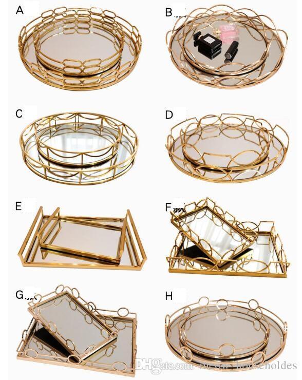 Металлический зеркальный поддон для украшения поддонов Гибкий дизайн модельного номера в гостиничном клубе квитанция Современный простой металлический зеркальный поддон