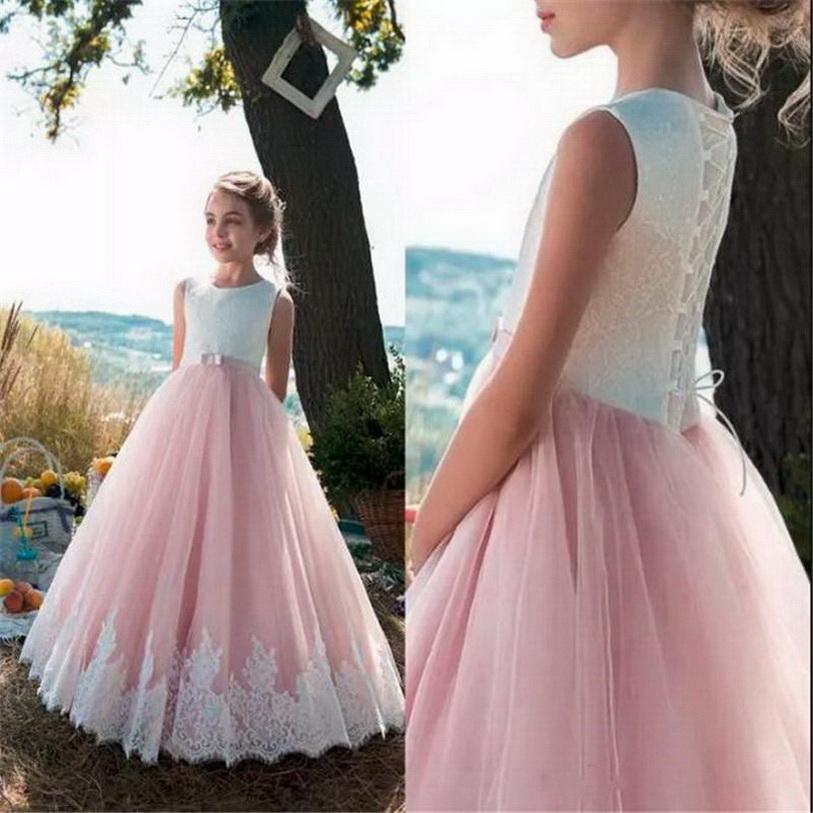 Beautiful Flower Girl Dress For Weddings with Withe Lace Lace Up Back Appliques Tulle Princess Floor Length