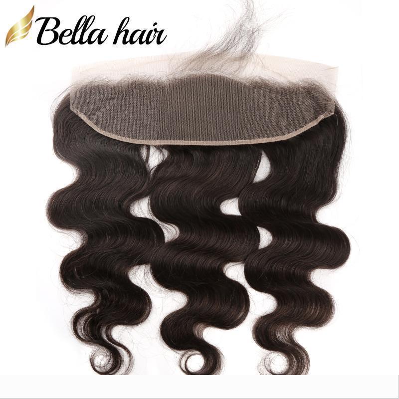 13x4 Dentelle du corps Cheveux Frontal brésilienne Vague Oreille Pour frontons de l'oreille avec bébé cheveux fermeture Pièces Bella cheveux Nœuds Blanchis