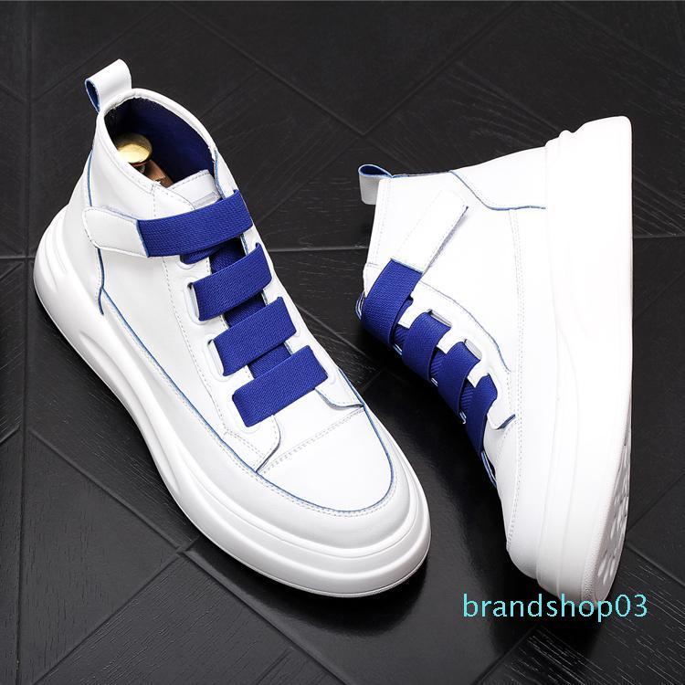 Un alto Casual 2020 hombres de moda encabeza los zapatos inferiores gruesos cordones de los zapatos de las zapatillas hombre Jóvenes de tendencias de ocio Zapatos de novio C01