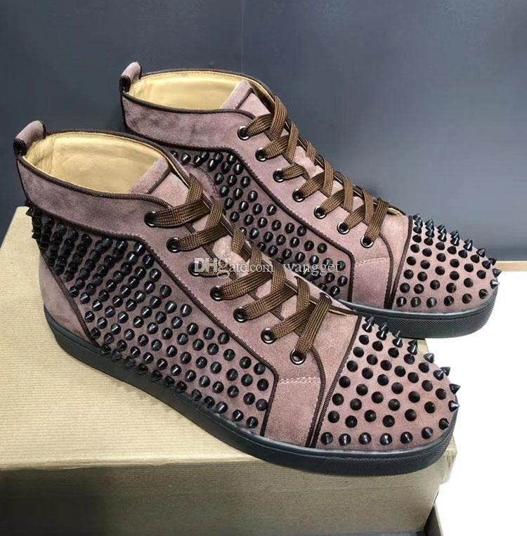 Prefere Spikes High Top Vermelho Bottom Sneakers Sapatilhas Sapatos Mulheres, Homens Designer de Luxo Apartamento Casual Sola Vermelha Autumn Winter Trainers 35-46