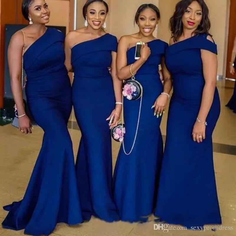 50-70%off purchase cheap deft design Navy Blue One Shoulder Mermaid Bridesmaid Dresses Sweep Train African  Garden Country Wedding Guest Gowns Maid Of Honor Dress Plus Size Short  Bridal ...