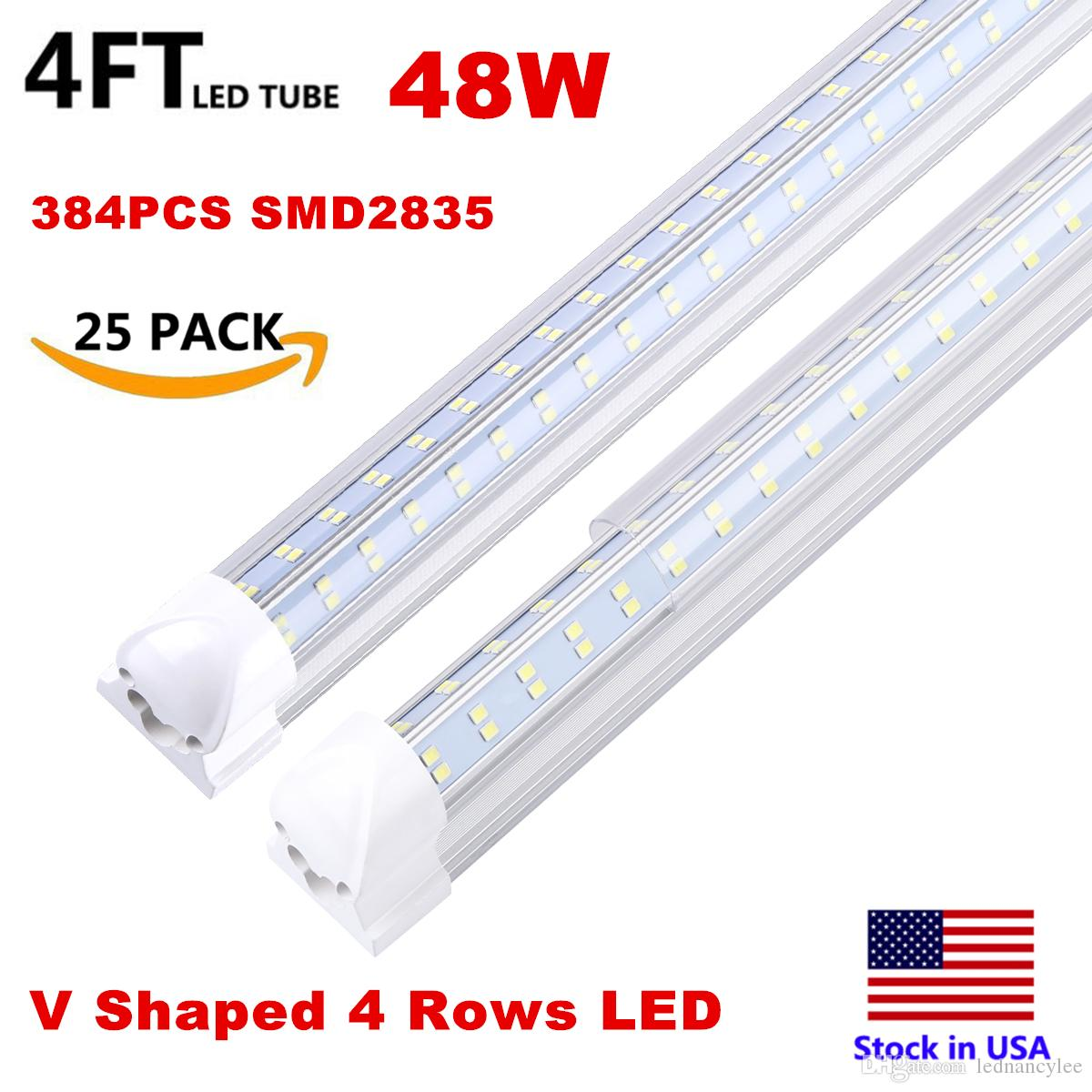 Integrated T8 Fluorescent Lamp 4ft 5ft 6ft 8ft 8 Feet LED Tube Light V Shape LED Light Fixtures 120W 4 Rows AC85-277V