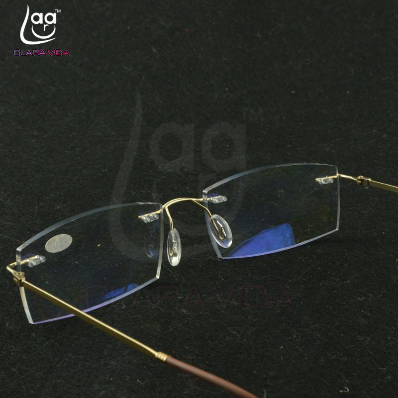 Titanyum Çerçeve Ultra Hafif bellek Altın Çerçeve Kaplama Lensler Erkek Kadın çerçevesiz okuma gözlükleri 0,75 1 1,5 1.75 2 2.25 için 4