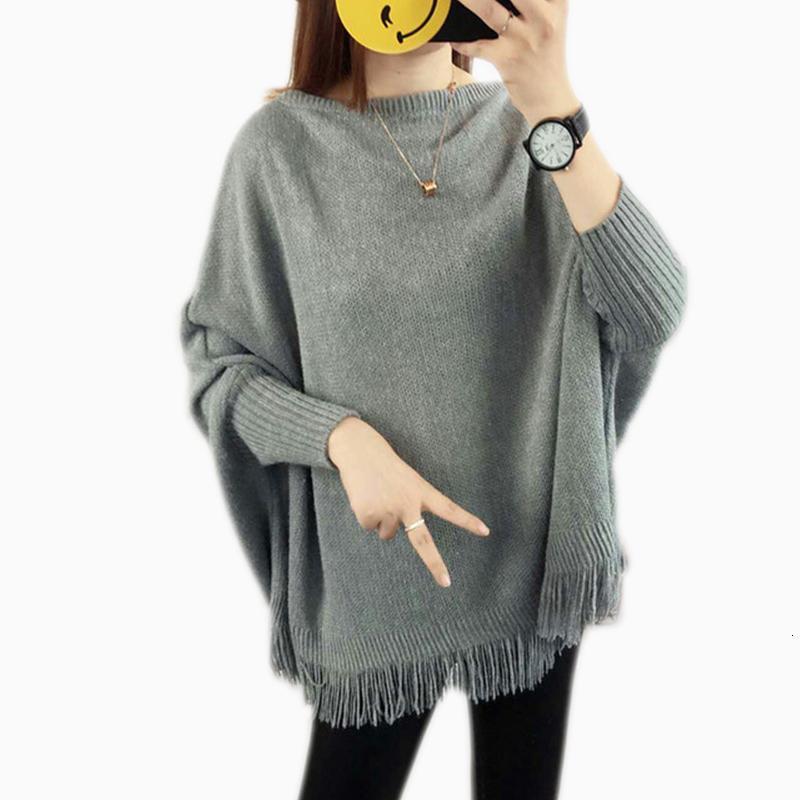 Женская дизайнер свитер свитер женщины Новой весна серой и свитер Сыпучей кисточки мягкой шали пончо Женщина Bat длинный рукав пуловер свитер