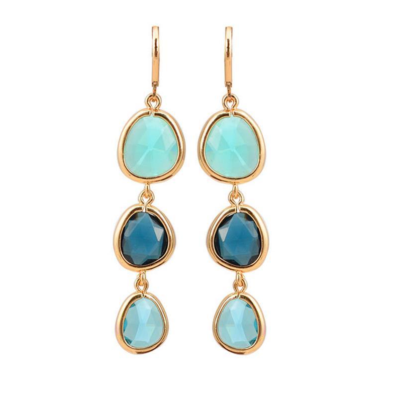 Fashion Design Dangle brincos longos encantos jóias coloridas pedra de cristal de cobre Gota Azul Rosa presentes brincos para Mulheres Meninas