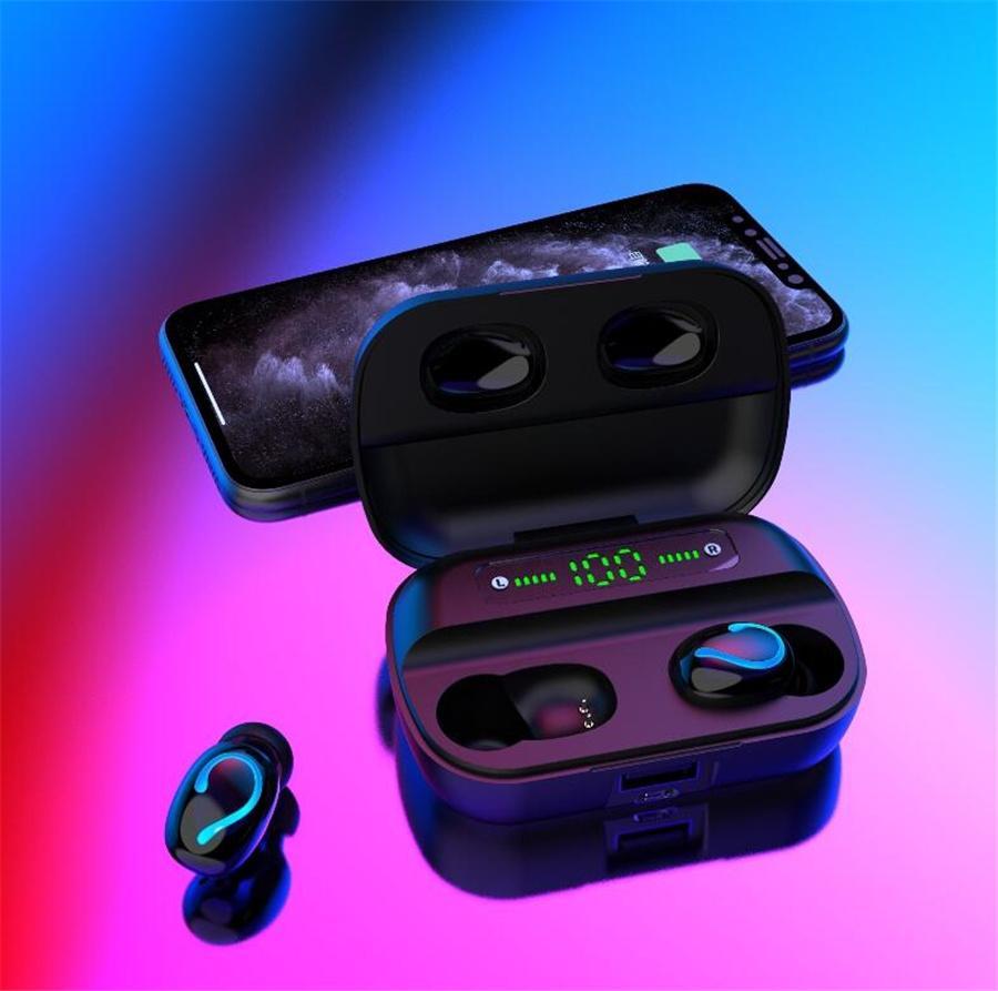 F9-10 Tws Bluetooth 5.0 cuffie auricolari wireless Tws Con microfono Sport impermeabile Cuffie auricolari Mini per Android 2000Mah # OU898