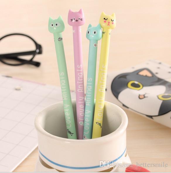 Plumas de gel al por mayor envío gratis dibujos animados coreanos lindo color caramelo gato neutral pluma y pluma todo tubo de aguja estudiante stationery434