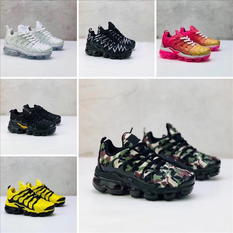 Nike Air TN Plus 2018 pas cher TN chaussures de course pour garçons filles enfants noir rouge blanc TN surface de coussin TN baskets Trainer vente chaude chaussures