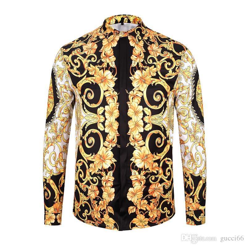 Uomini di modo camice di lusso di affari del Mens camicia casuale camice di vestito a maniche lunghe Slim Fit Camicie Uomo Medusa Shirt