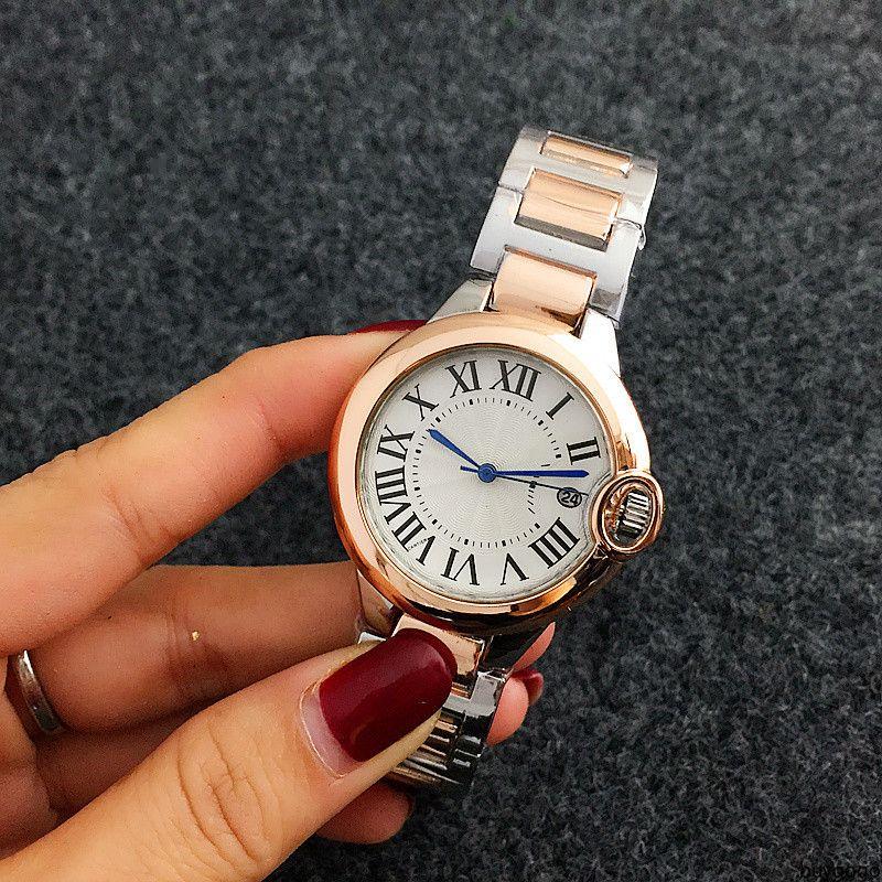 buygogo Mode Frauen-Quarz-Rom Wort Wählscheibenstil Uhren Luxus-Kleid Designer Mode Stahlband Quarzuhr Großhandel beobachten