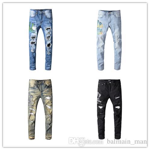 Мужские Проблемные рваные джинсы Байкер Slim Fit Мотоцикл Байкер Denim для мужчин Модельер Hip Hop мужские джинсы высшего качества Размер 29-40