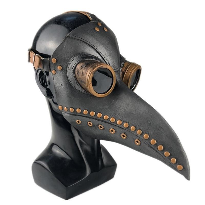 Halloween Led Peste Doctor Latex Masque Lumière Masquerade Mascara longue Nez Bec Oiseau Corbeau Cosplay Steampunk Accessoires Halloween SH190922