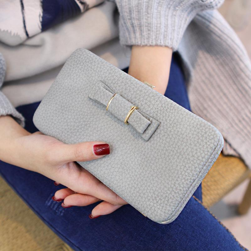 Mulheres Long Rosa Wallet Titular bonito Portmonee Multifunction embreagem cartão de visita da forma das mulheres Bag