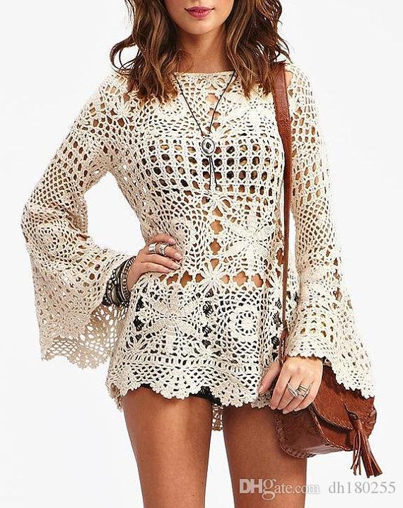 Hand Made Crochet Cotton Womens Nette Tunika Langarm Strand häkeln sexy Kleid Spitze Frauen Hochzeit Boho