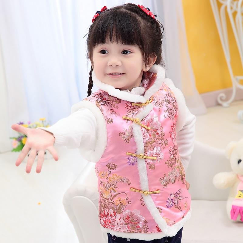 Children Jacket Chinese New Year Baby Girl Qipao Vest Clothes Spring Holiday Kids Coat Floral Outfits Outwear Girl Waistcoat Top