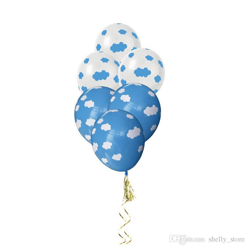 """12"""" белый Облако синий латекс Воздушные шары Стандартный Свадебные душ девичник Birthday Party Baby Shower воздушный шар"""