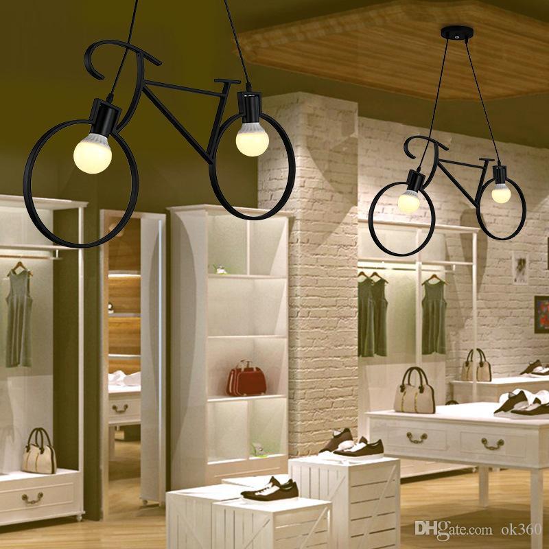 Vintage Luzes Pingente Retro Nordic bicicleta Ferro Chandelier Led E27 Pendant iluminação da sala de jantar lâmpada Suspensão Bar Quarto lâmpada do teto