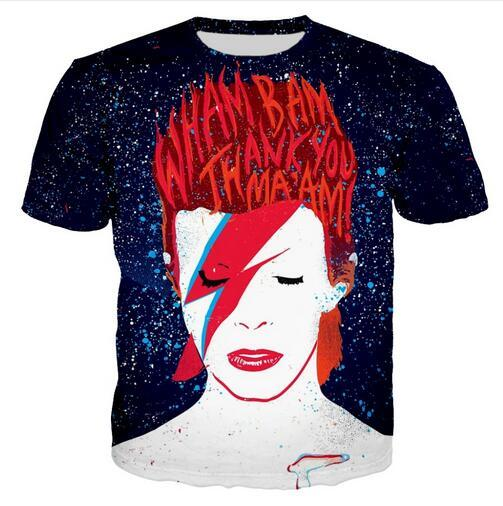 Summer Style Men/women T-shirt Anime David Bowie 'suffragette City' 3D Digital Print T-Shirts for Tees Shirts Loose Casual Tees Tops