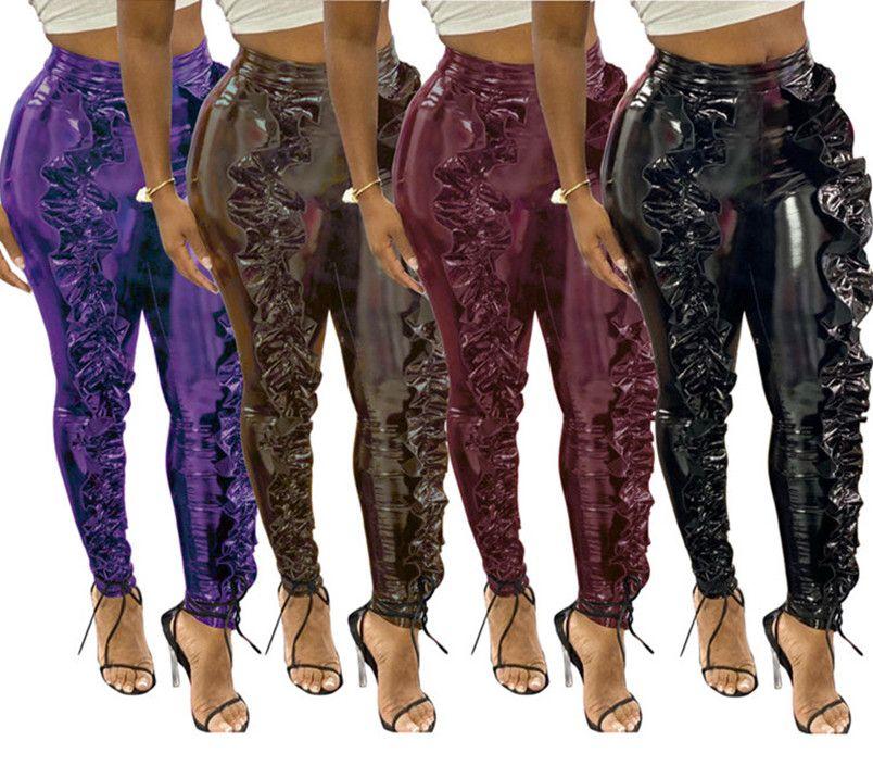 Mulheres calças leatcher ourela stringy Capris além de lápis tamanho calças moda leggings Calças justas caem casuais inverno de-sino 2026