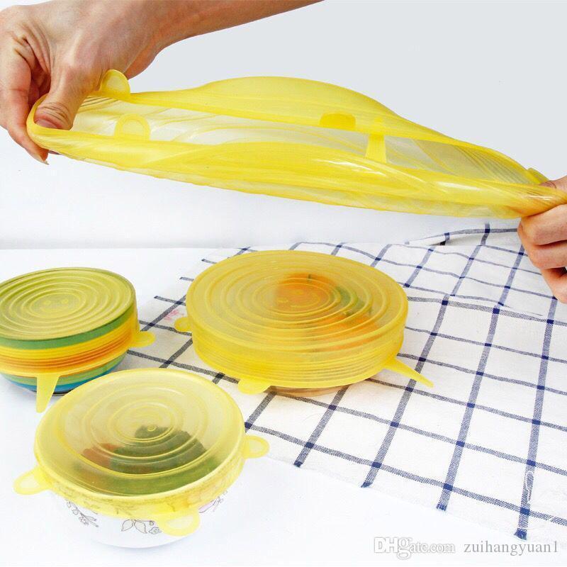6 Adet / Set Gıda Silikon Kapak Evrensel Silikon Kapaklar İçin Tencere Bowl Pot Yeniden kullanılabilir Stretch Kapaklar Mutfak Aksesuarları Tencere