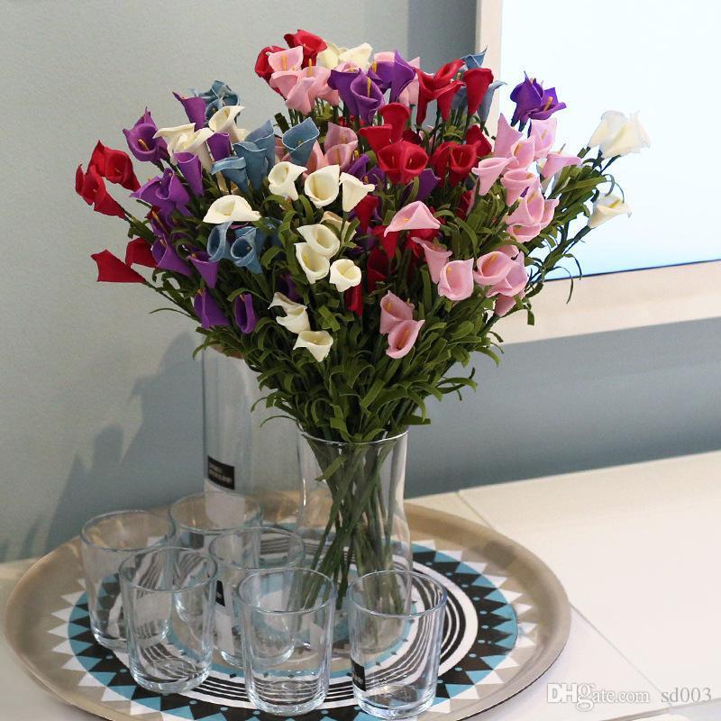 Bouquet de lirios de flores decorativas 12 Jefes suave material del PE estereoscópica Plump exquisita flor artificial E1 2 8SY