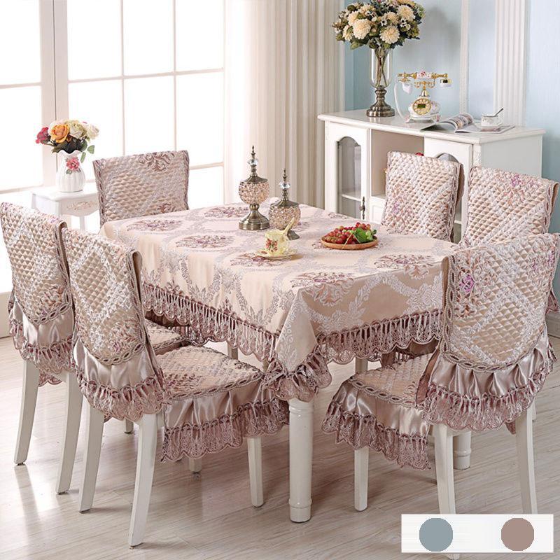 Europa Mantel Impreso cubierta de la silla del satén del cordón Cojín Set Hotel Decorat boda banquete Inicio Comedor Mantel Conjunto