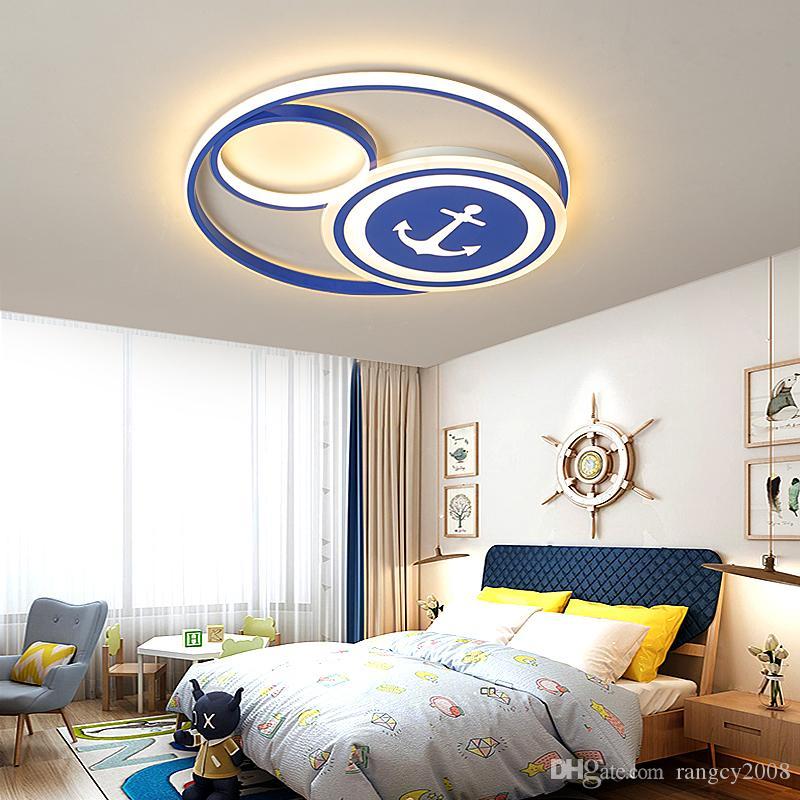 Детская лампа светодиодные потолочные светильники креативный пиратский корабль свет мальчик современный стиль мультфильм круглый AC90-260V спальня потолочный светильник