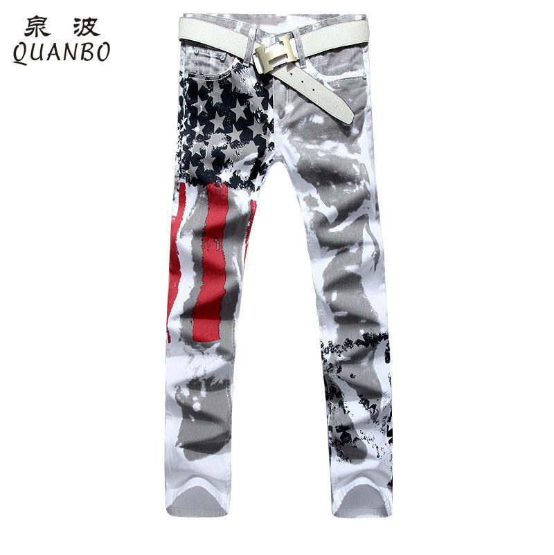 tamaño grande 28-48 pantalones de hombres de la marca de 2016 Nueva impreso blanco Moda Hombre Jeans estiramiento delgado de la impresión de la bandera americana jeans hombre